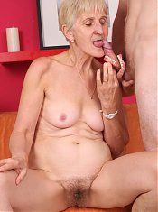 Sexy granny with a flabby fat ass Irene works a cock with her mouth and gets her ripe cunt screwed