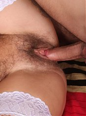 Busty grandma Francesca straddles on top to ride a young cock and take cum hosing in her boobs