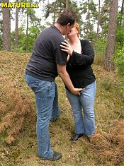 filthy mature couple fucking and playing in the woods