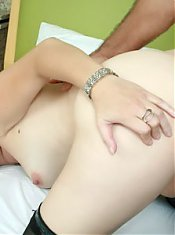 Stocking clad MILF Laura goes on all fours while a meat puppet jackhammers her tiny pink slit