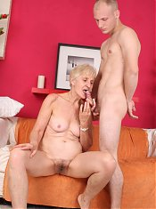 Sensual older gal Irene lures a younger guy into fucking her pussy during a cam session