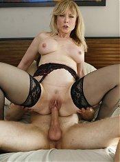 Hot mature pornstar Nina Hartley teases a younger guy into fucking her during a webcam show