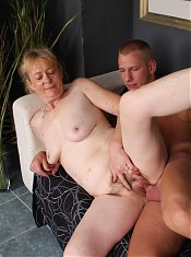 Naughty grandma Maria fucking a younger guy and taking a huge load across her face live